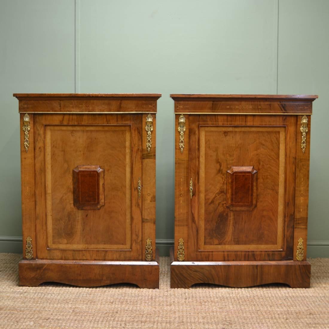 Unique Pair Of Quality Figured Walnut Antique Victorian Cabinets