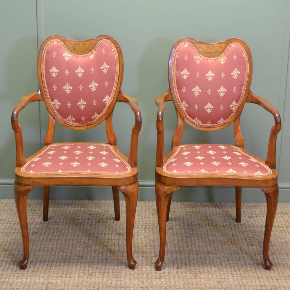 Unusual Pair Of Antique Elegant Inlaid Satinwood Victorian Side Chairs