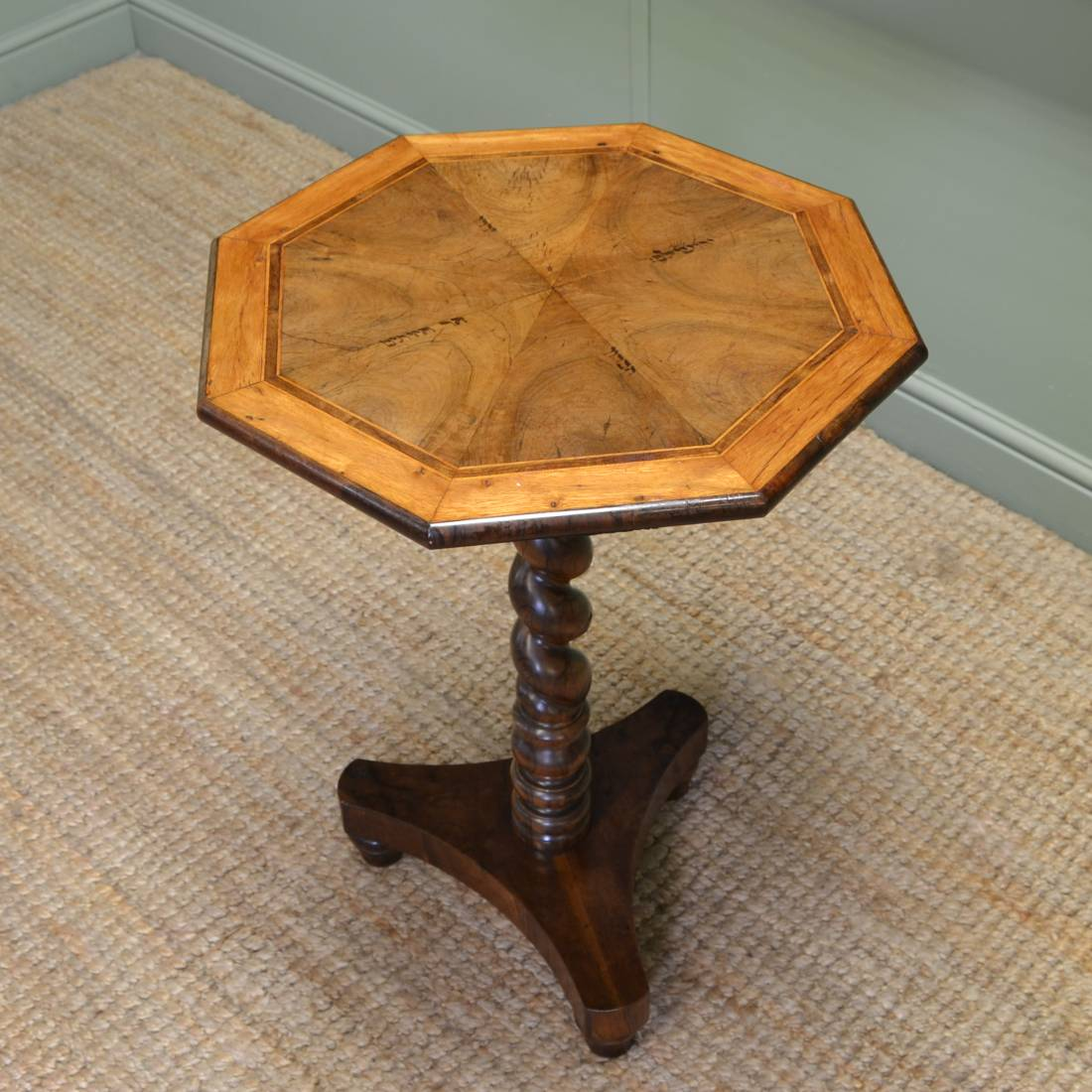 Rare Victorian Yew Antique Wine / Lamp Table