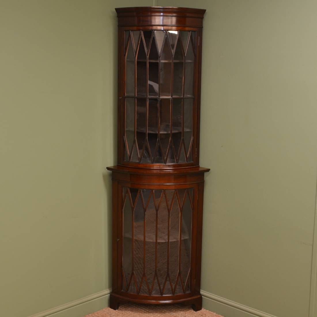 Spectacular Edwardian Bow Fronted Floor Standing Glazed Corner Cabinet Antiques World