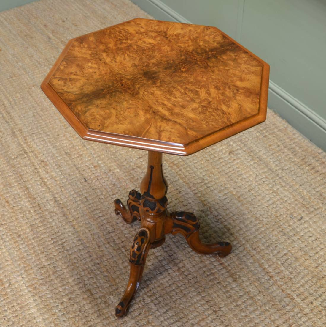 Victorian Burr Walnut Antique Occasional Wine Table