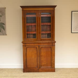 Small Slim Victorian Mahogany Antique Bookcase