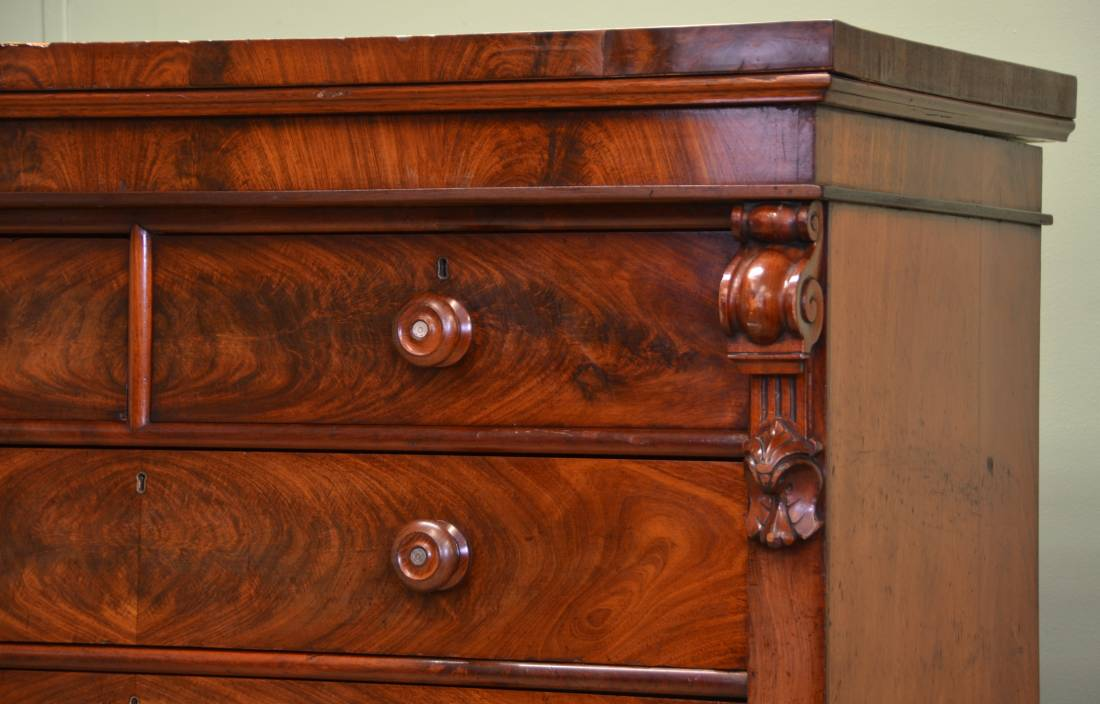 Large Victorian Figured Mahogany Antique Scottish Chest Of