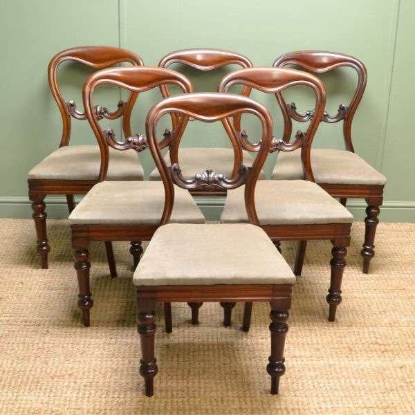 Set Of Six Victorian Mahogany Antique Balloon Back Chairs
