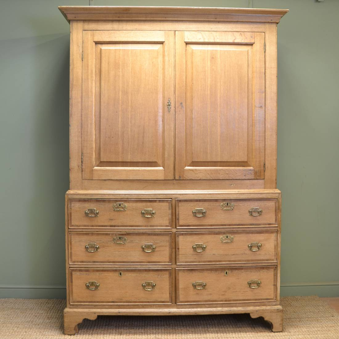 Country George III light oak Antique Kitchen / housekeepers cupboard