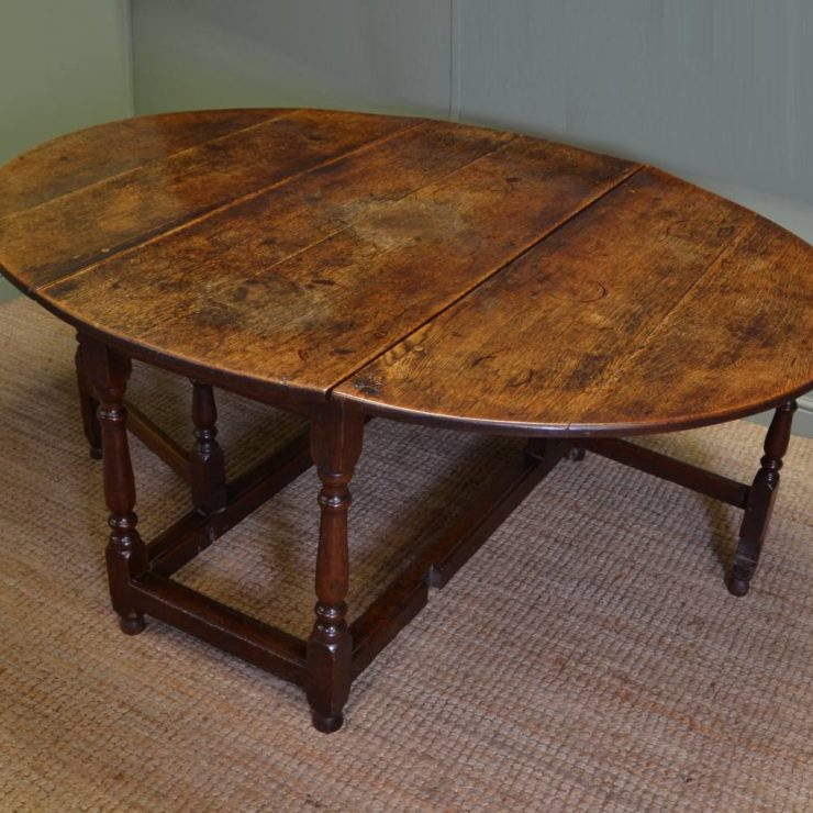 Large Eighteenth Century Country Oak Antique Drop Leaf Gate Leg Dining Table