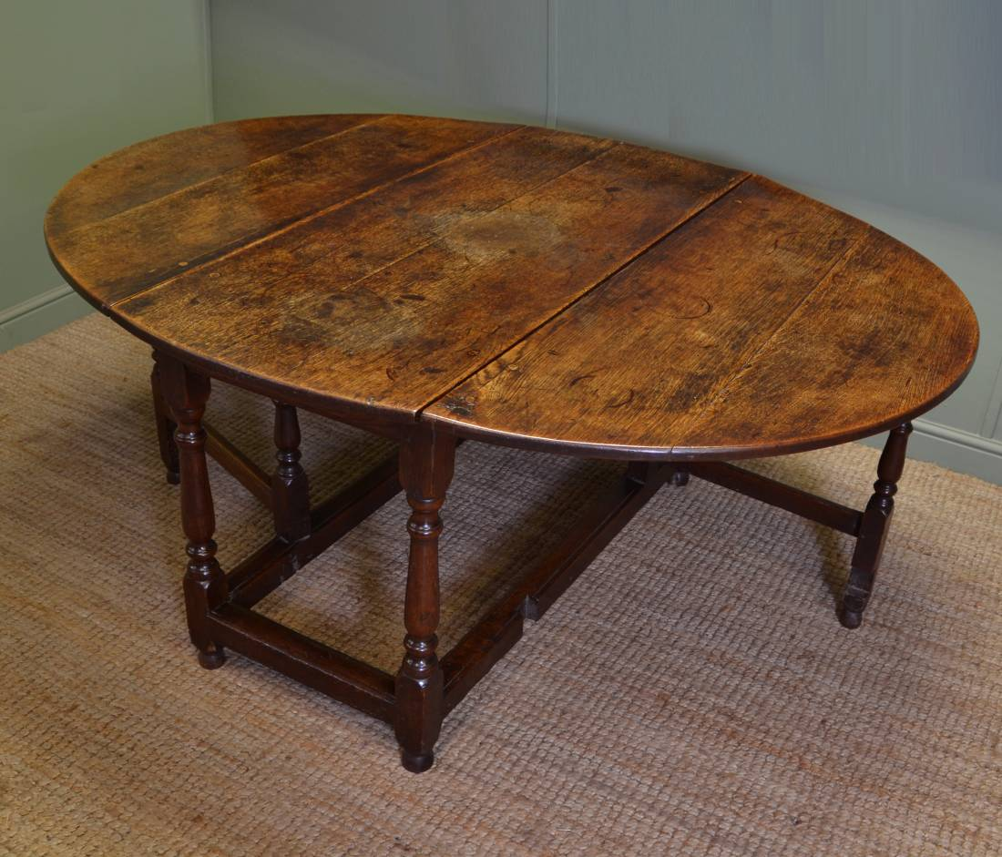 Large eighteenth century country oak antique drop leaf for Drop leaf dining table