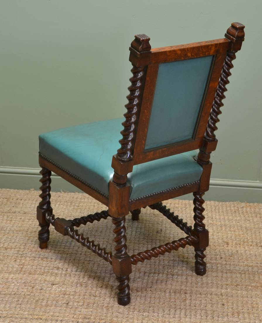 Antique Oak Chairs ~ Rare set of twelve victorian solid oak leather antique