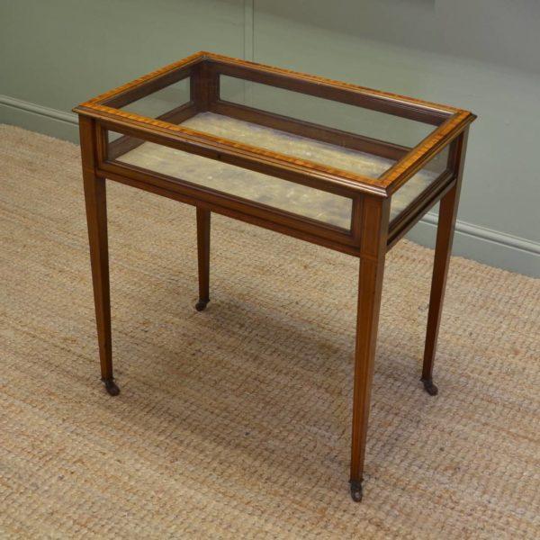 Elegant Edwardian Mahogany Glazed Antique Bijouterie Table
