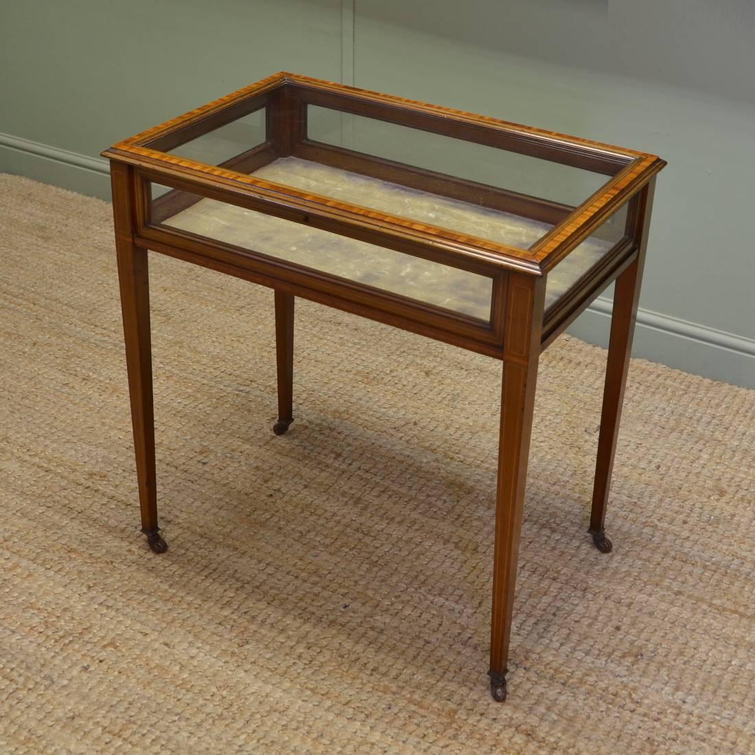 Elegant edwardian mahogany glazed antique bijouterie table antiques world - Vintage pieces of furniture old times elegance ...