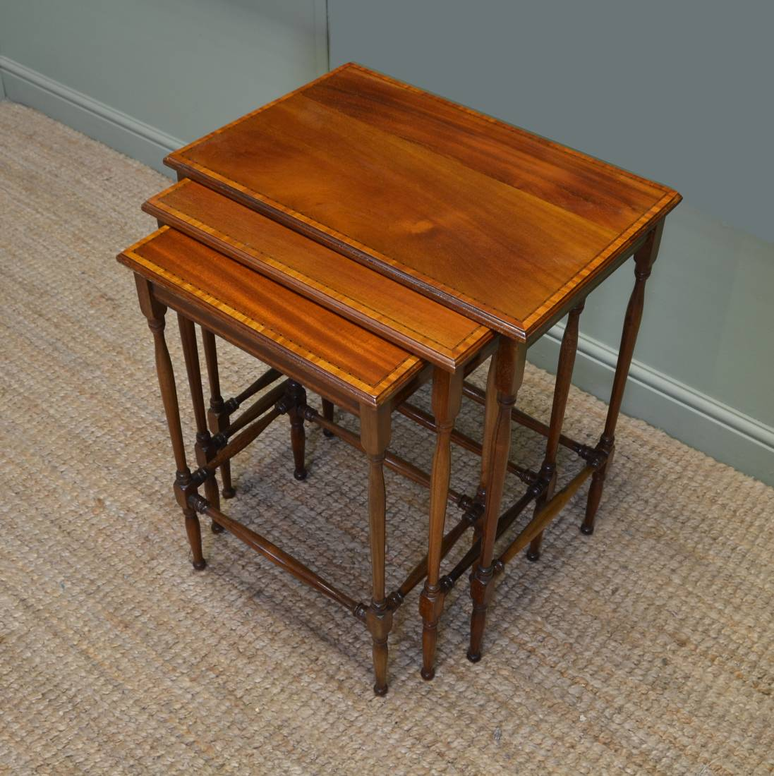 Fine Quality Edwardian nest of 3 Inlaid Antique Tables
