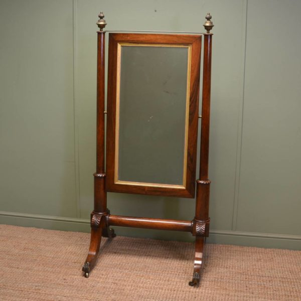Elegant Empire Style Regency Rosewood Antique Cheval Mirror