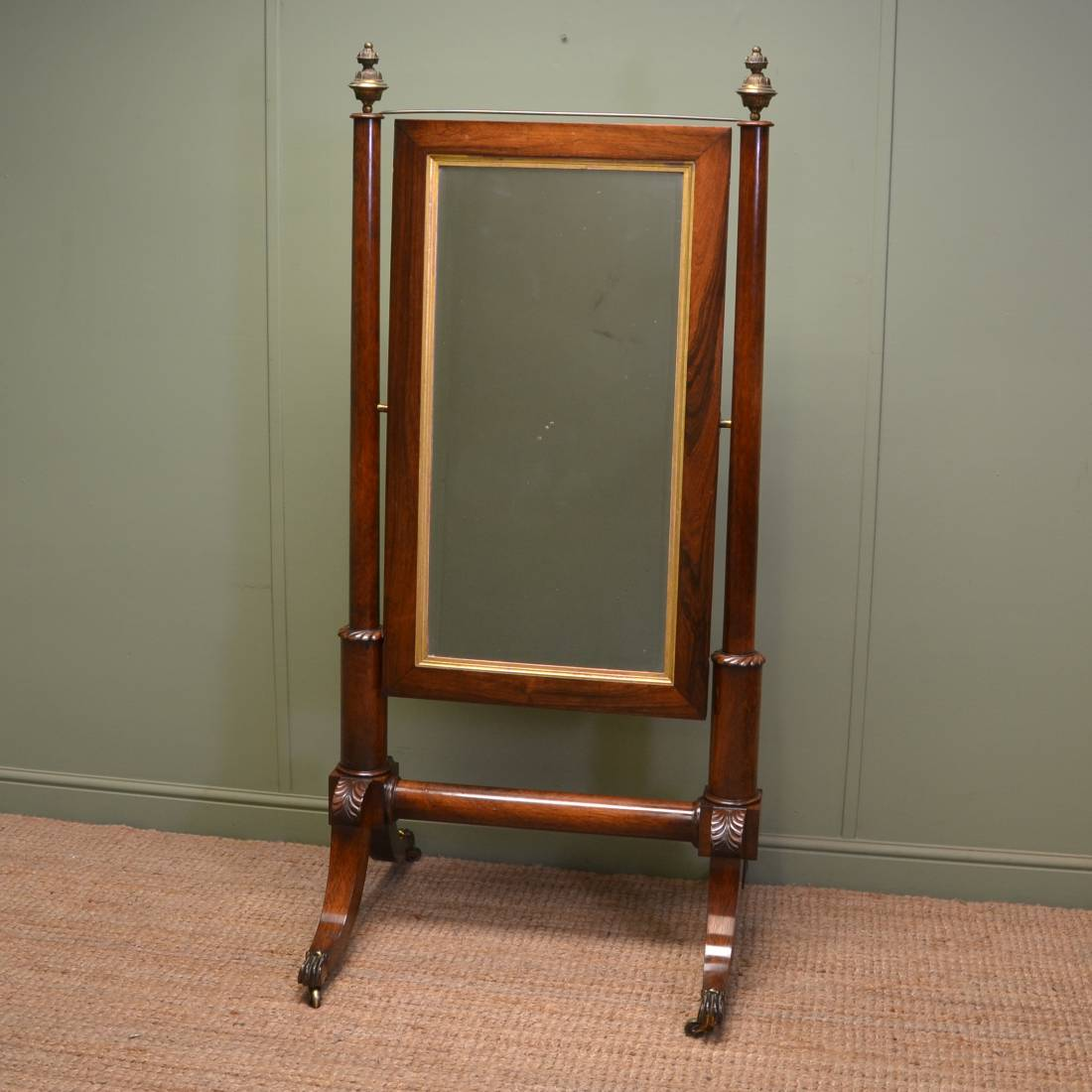 Elegant empire style regency rosewood antique cheval for Cheval mirror