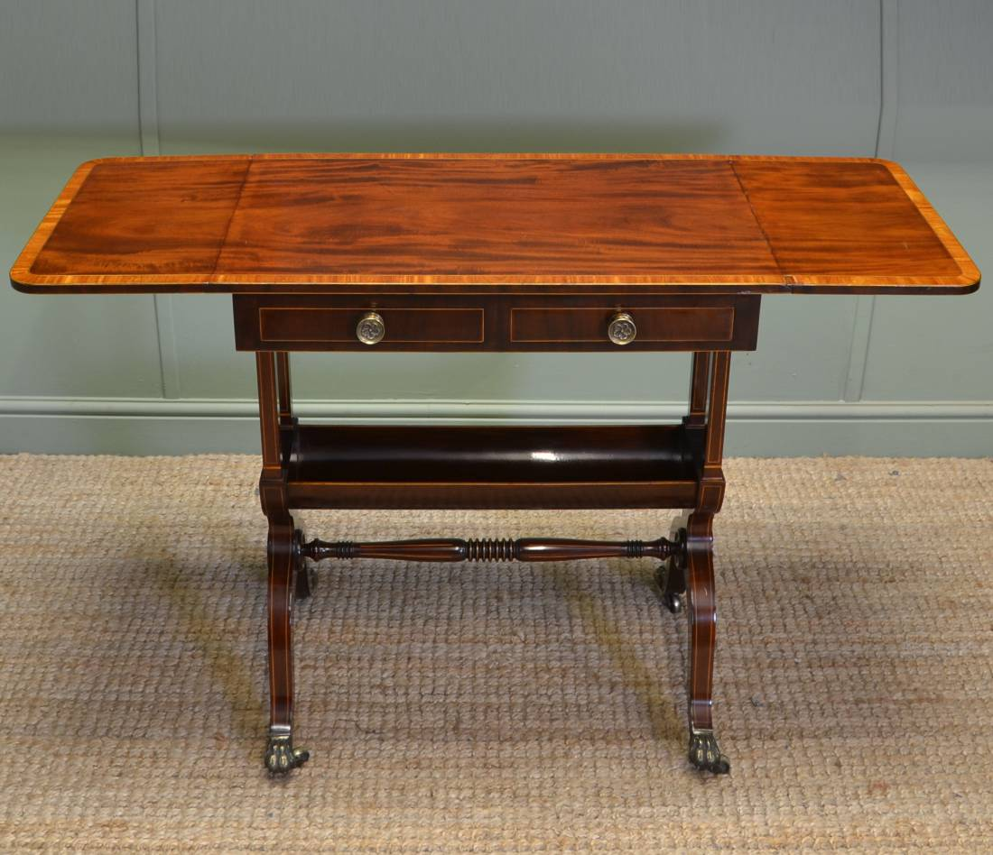 Antique sofa table - Stunning Quality Figured Mahogany Small Antique Sofa Table