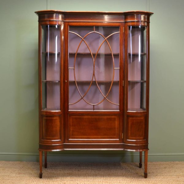 Magnificent Quality Feathered Mahogany, Quality Edwardian Inlaid Antique Display Cabinet.