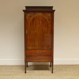 Spectacular Inlaid Edwardian Antique Mahogany Music Cabinet