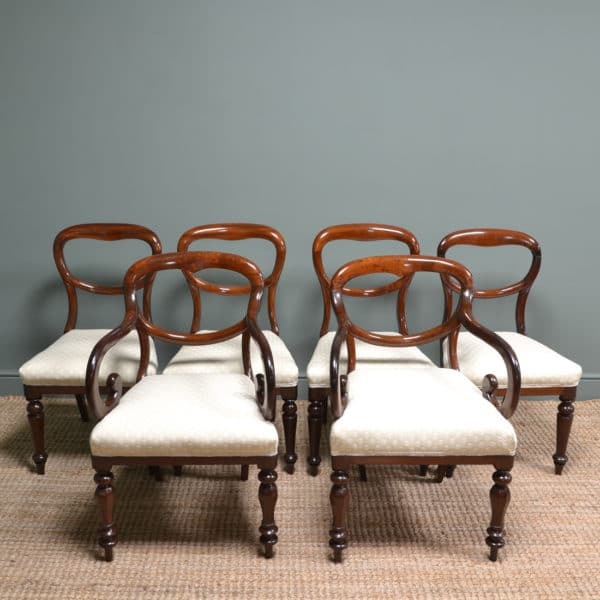 Six Victorian Mahogany Antique Balloon Back Chairs