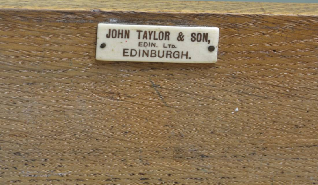 Quality Victorian Solid Oak Antique Wellington Chest by John Taylor And Son Edinburgh