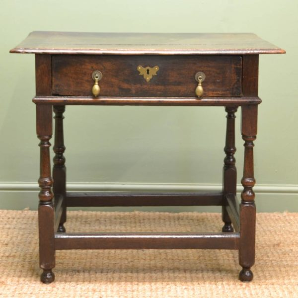 Early Eighteenth Century Antique Oak Side Table / Low Boy