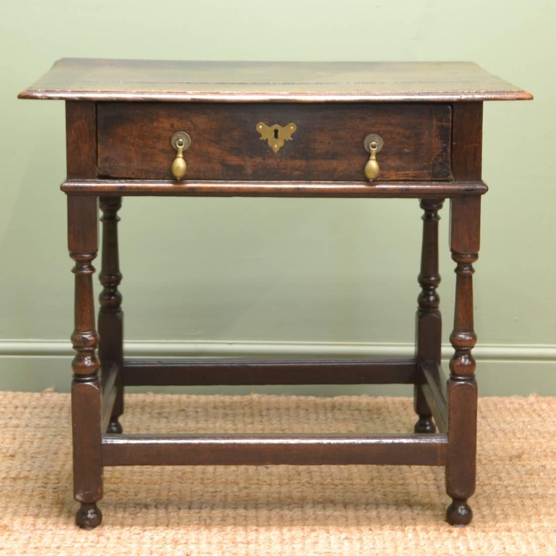 Early eighteenth century antique oak side table low boy