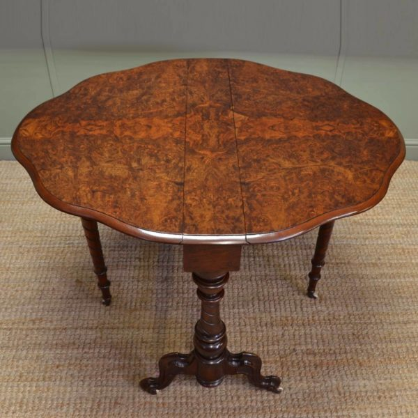Striking Figured Burr Walnut Antique Victorian Sutherland Table