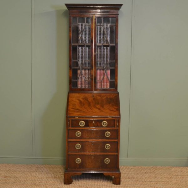 Antique Victorian Glazed Mahogany Bureau Bookcase of Slim Proportions