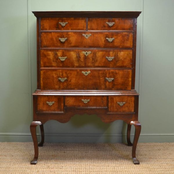 Sensational George 1st Oak and Figured Walnut Antique Chest on Stand