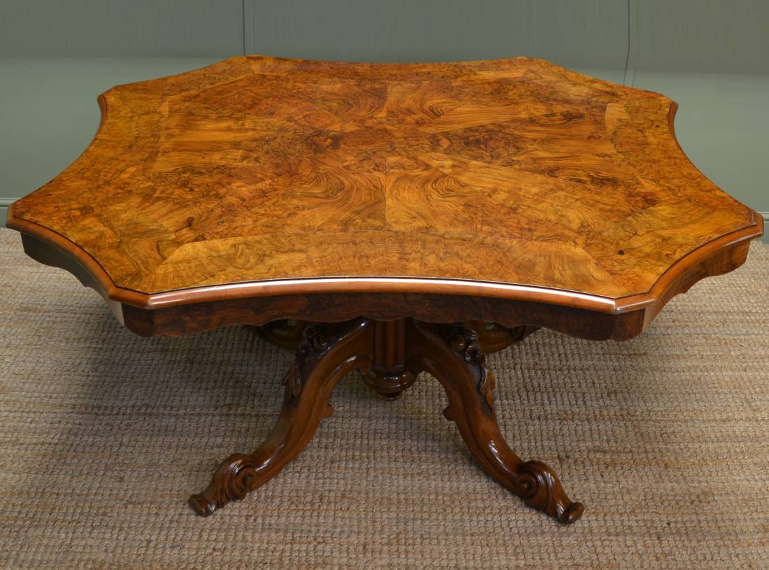 Spectacular Large Victorian Antique Figured Walnut Dining Table