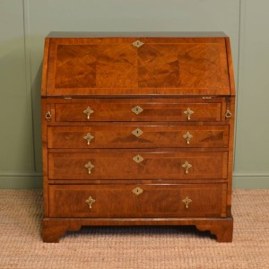 Spectacular Feather Banded Figured Walnut Georgian Antique Bureau