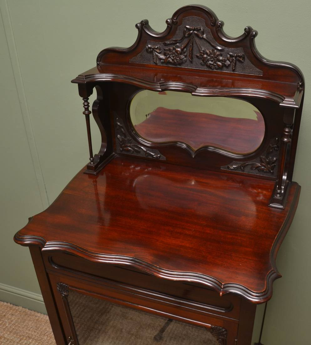 Elegant Maple & Co Antique Mahogany Glazed Cabinet