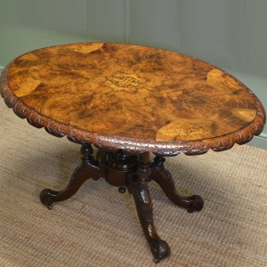 Figured Walnut Oval Victorian Antique Dining Table