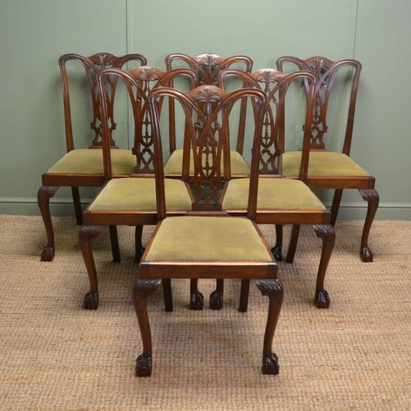 Set Of Six Chippendale Design Antique Dining Chairs