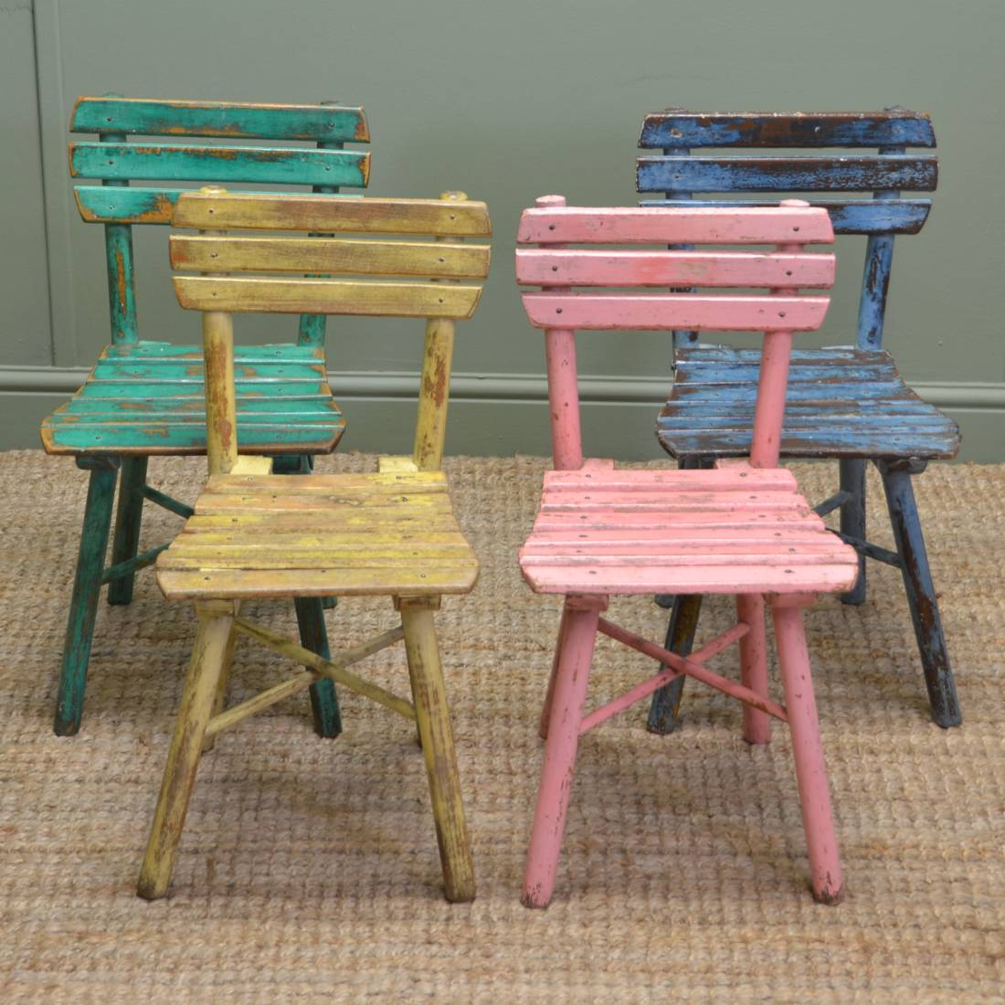 Cute set of four vintage painted country antique children for Antique desk chair