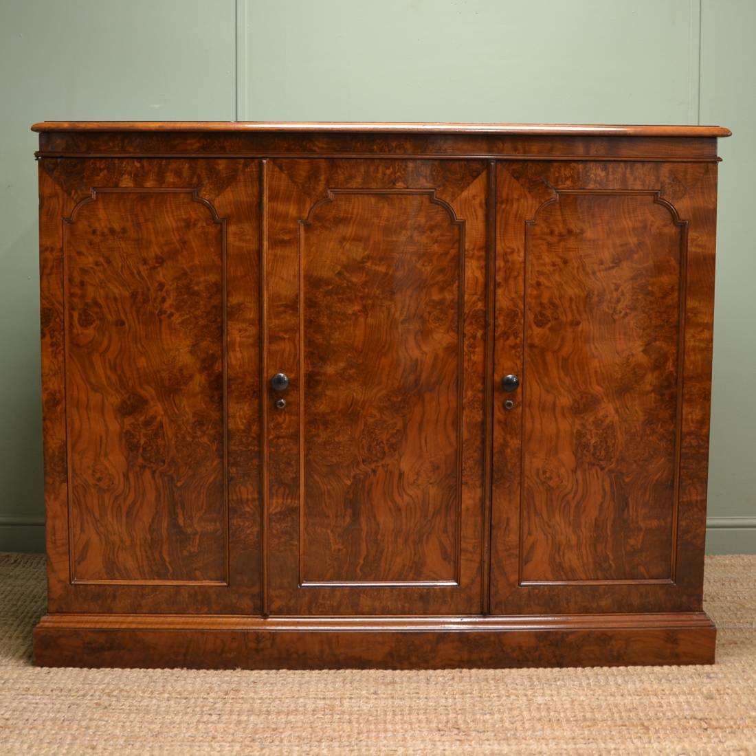 Magnificent Edwards & Roberts Victorian Antique Figured Burr Walnut Linen Cupboard