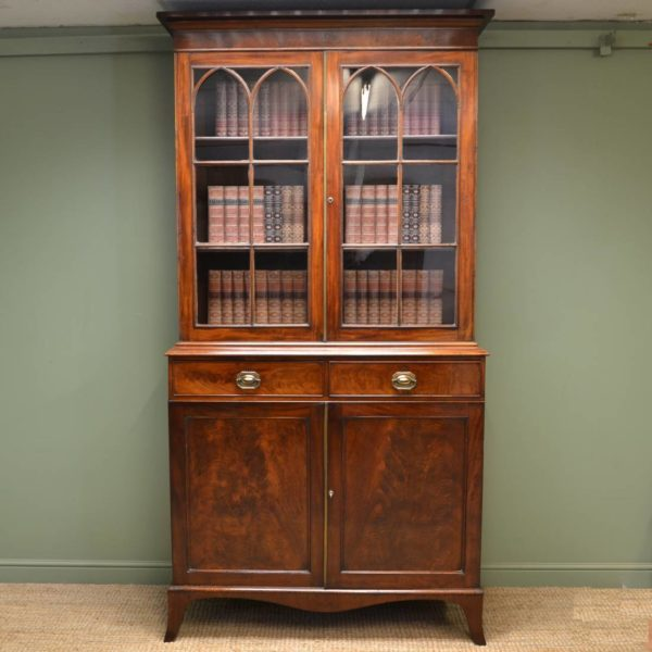 Large Georgian Figured Mahogany Antique Glazed Bookcase