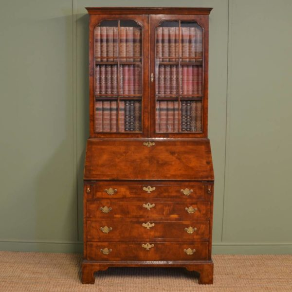 Striking Queen Anne Design Figured Walnut Antique Edwardian Bureau / Bookcase