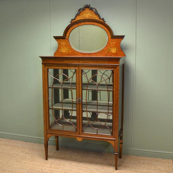 Spectacular Victorian Inlaid Antique Display Cabinet