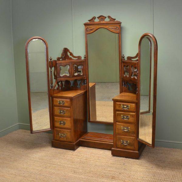 Large Edwardian Figured Walnut Antique Dressing Table