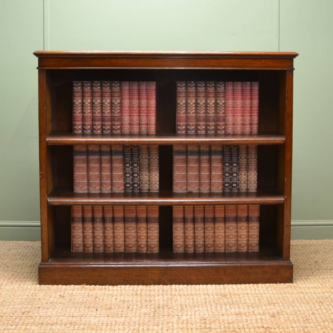 Quality Solid Oak Antique Victorian Open Bookcase