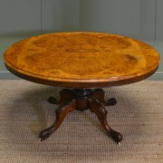 Spectacular Figured Walnut Antique Oval Victorian Loo Table