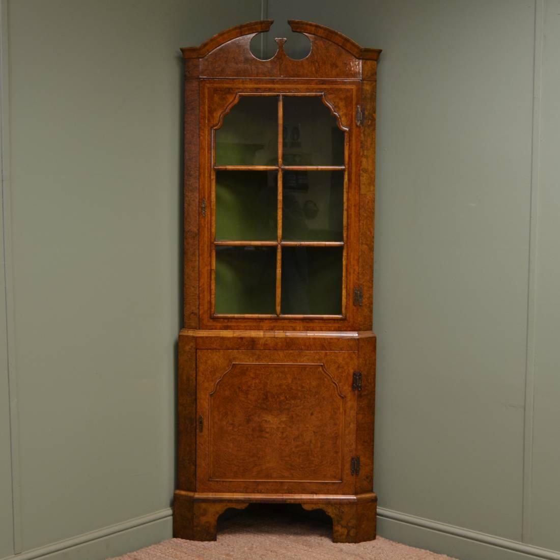 Figured Burr Walnut Antique Edwardian Antique Corner Cabinet