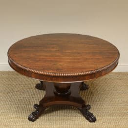 Spectacular Large William IV Figured Rosewood Antique Circular Dining Table