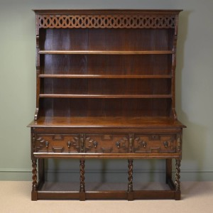 Large Quality Victorian Antique Oak Dresser