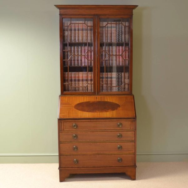 Quality Edwardian Inlaid Mahogany Antique Bureau / Bookcase