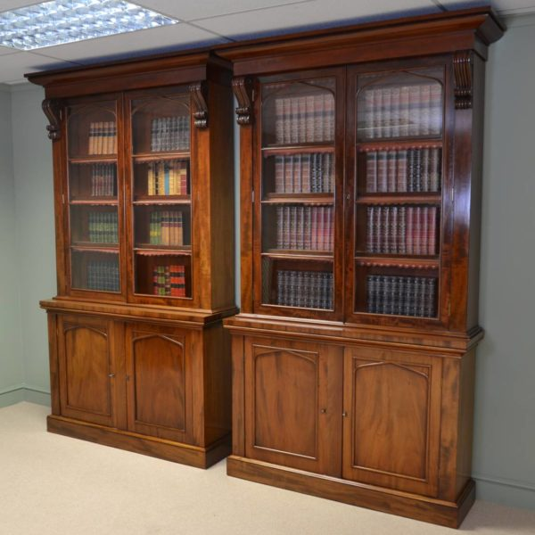 Rare Pair of Quality Victorian Figured Mahogany Antique Library Bookcases