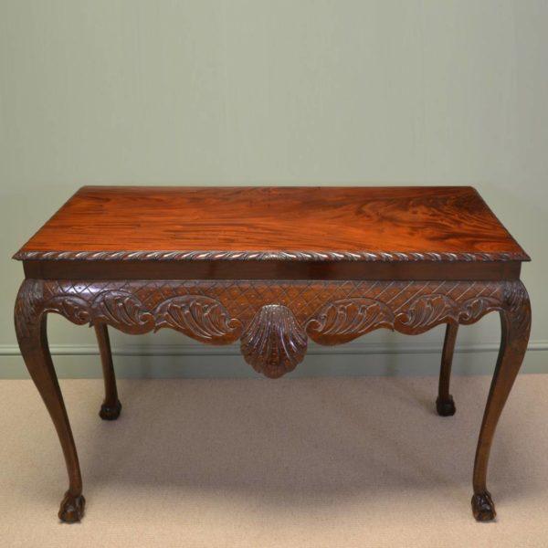 Spectacular Figured Mahogany Irish Victorian Antique Console Table