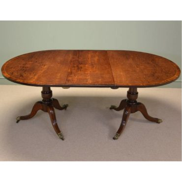 Spectacular Regency Figured Mahogany Antique Pedestal Dining Table