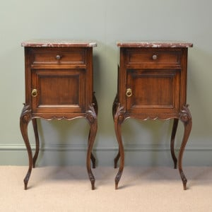 Quality Pair of Walnut Antique Bedside Cabinets
