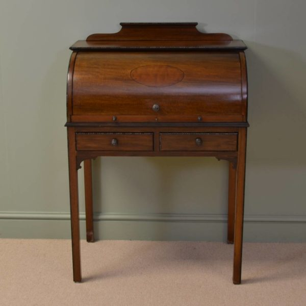 Superb Quality Inlaid Edwardian Antique Cylindrical Mahogany Desk