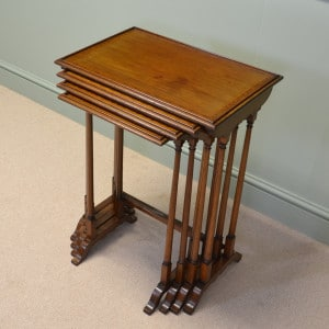 Quality Edwardian Mahogany Antique Nest of Tables with Cross Banded Edge